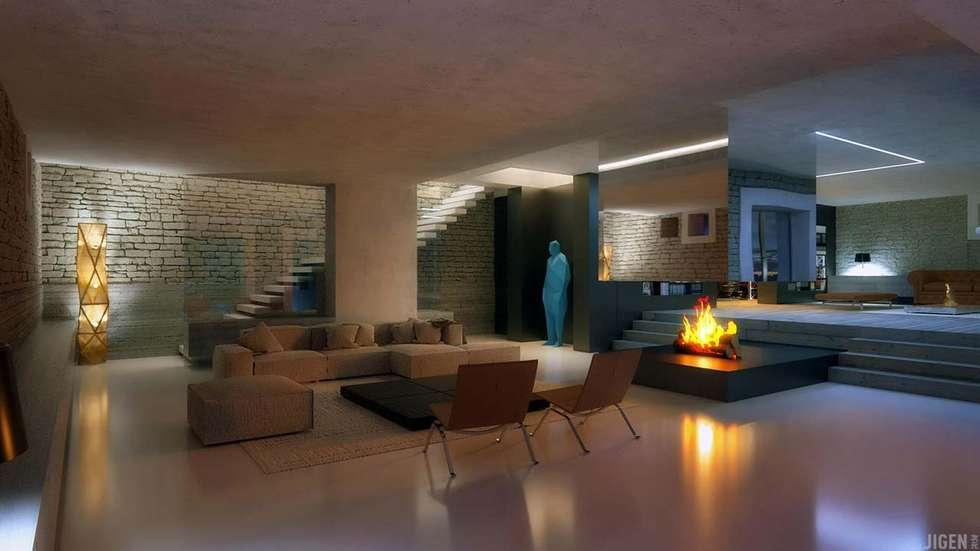Visualisations 3d: Salon de style de style Moderne par JIGEN