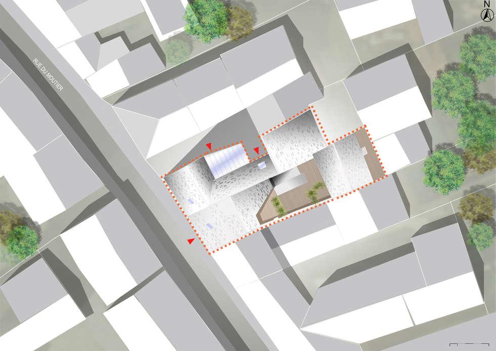 HAB-TERRASSE SUSPENDUE SUR UN CENTRE MEDICAL: Maisons de style de style Moderne par Studioscop