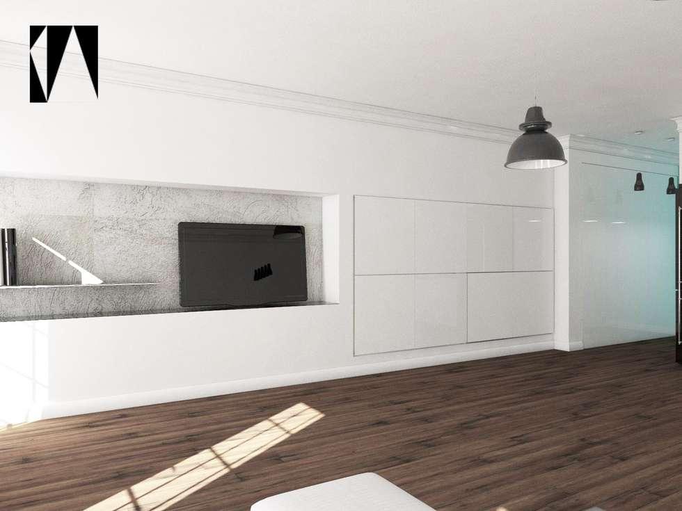 Salon i garderoba w jednym: styl , w kategorii Salon zaprojektowany przez Katarzyna Wnęk