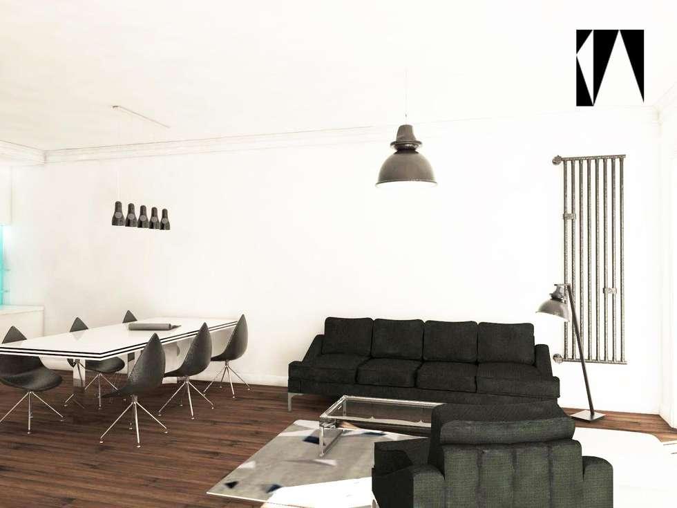 Salon i sypialnia: styl , w kategorii Salon zaprojektowany przez Katarzyna Wnęk