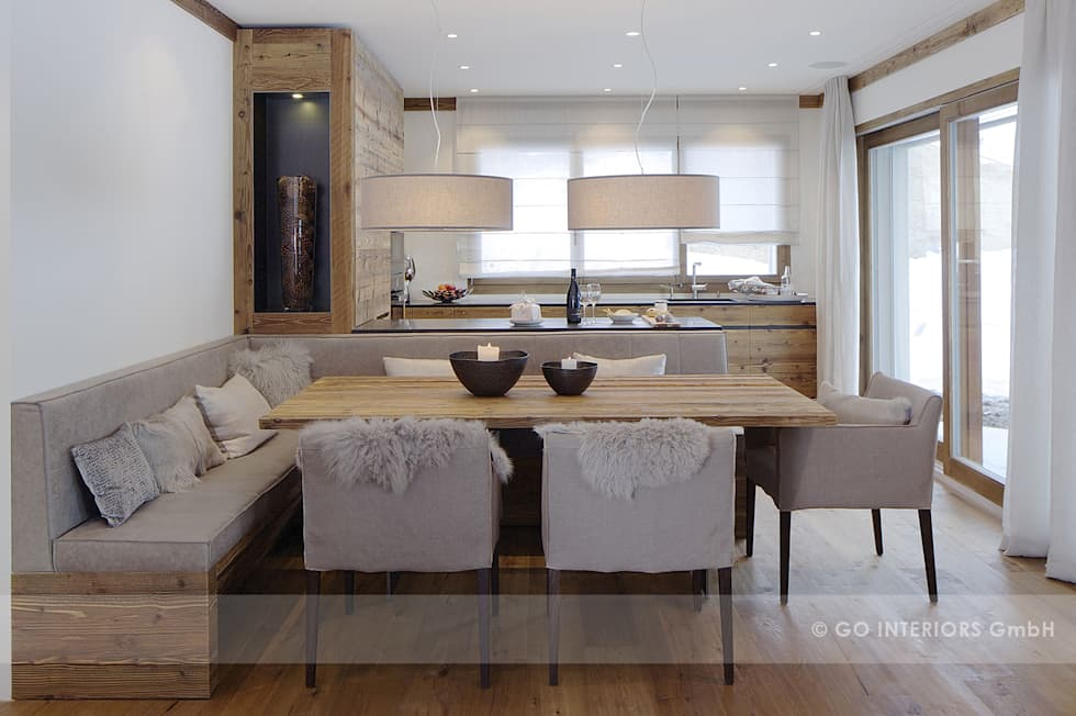 Chalet valbella rustikale esszimmer von go interiors gmbh for Wohnideen esszimmer