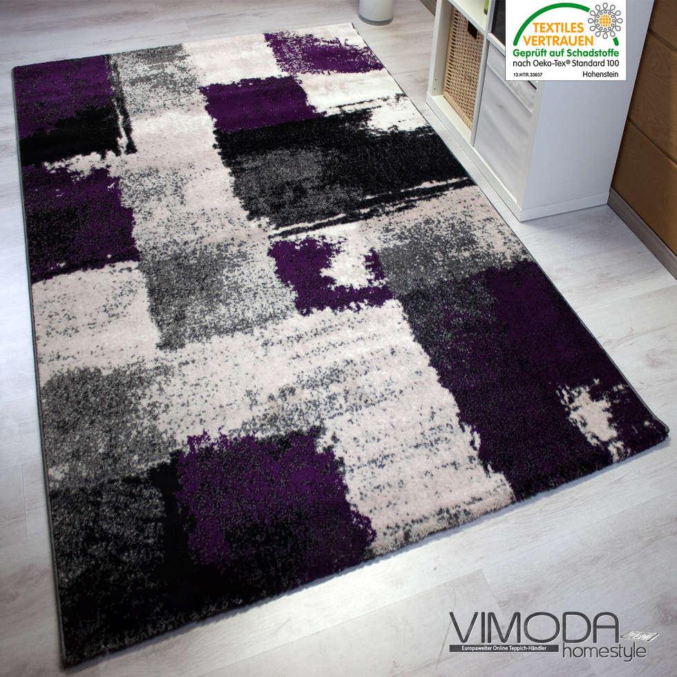 Moderner frisee designer teppich mit abstrakt muster, melliert in ...