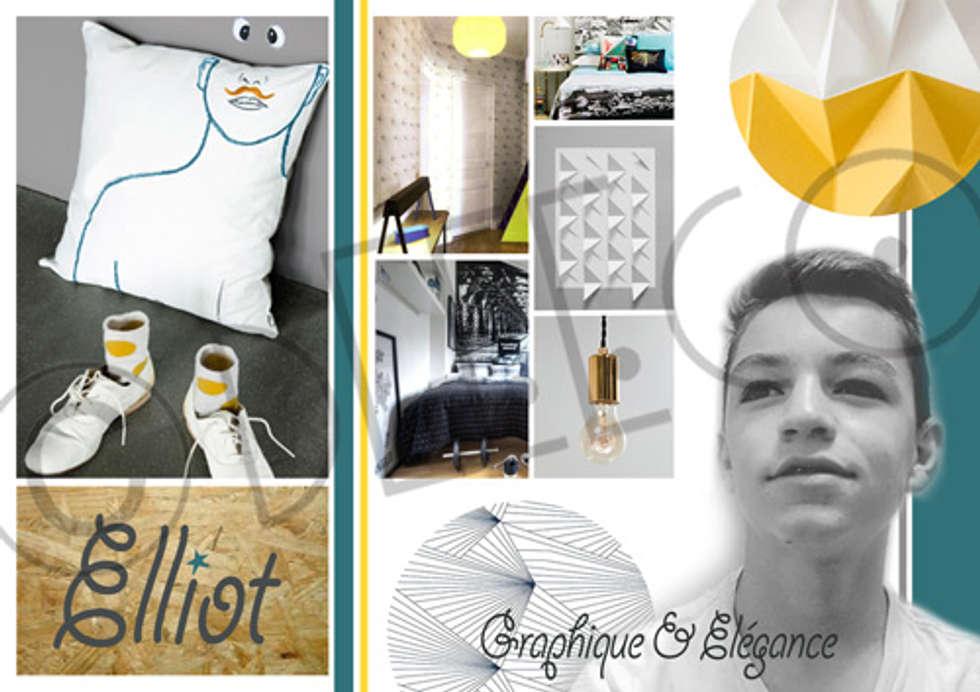 """""""Elégance graphique"""" - Chambre adolescent: Chambre de style de style eclectique par dEEEco"""