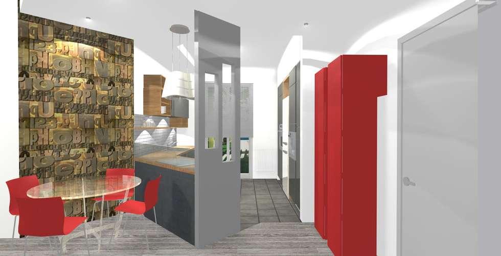 Ingresso- cucina open space: Cucina in stile in stile Moderno di Bludiprussia design