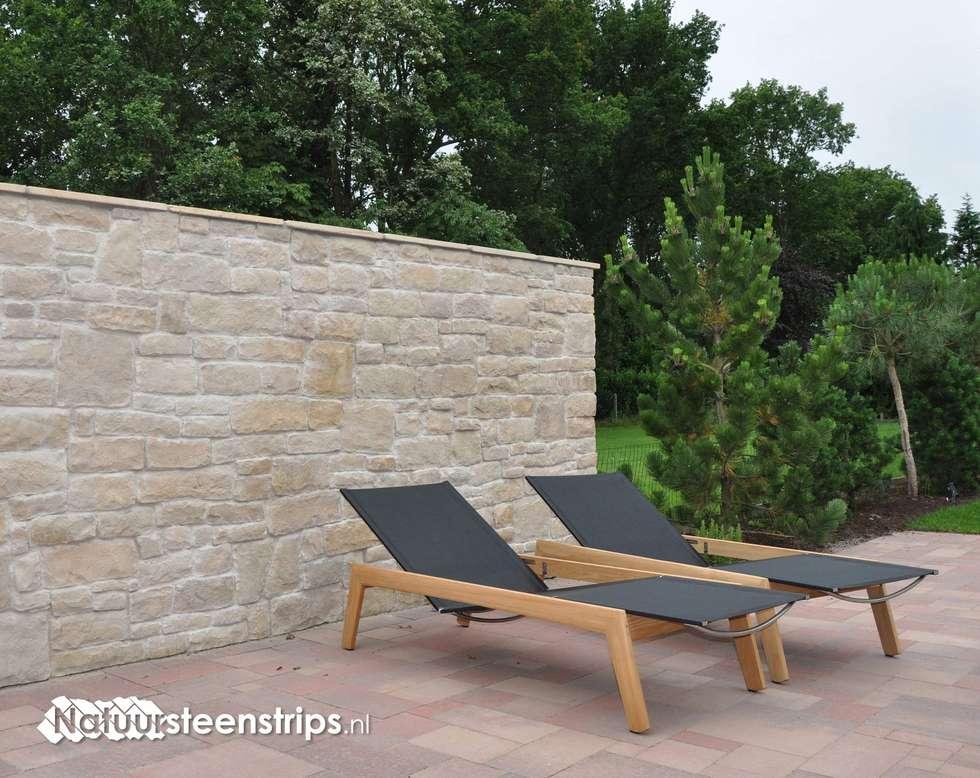 Zonnige tuinmuren zoals in Italië!: mediterrane Tuin door The Flagstone Company BV