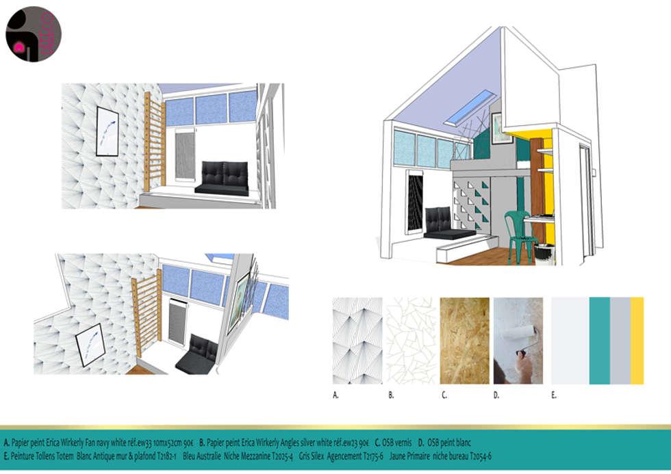 Chambre d'adolescent - dEEEco Projet détaillé - Bourgogne (21): Chambre de style de style eclectique par dEEEco