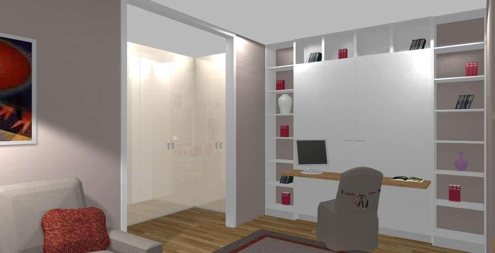 Rendering con lato letto chiuso in versione giorno con for Scrivania di design a parete