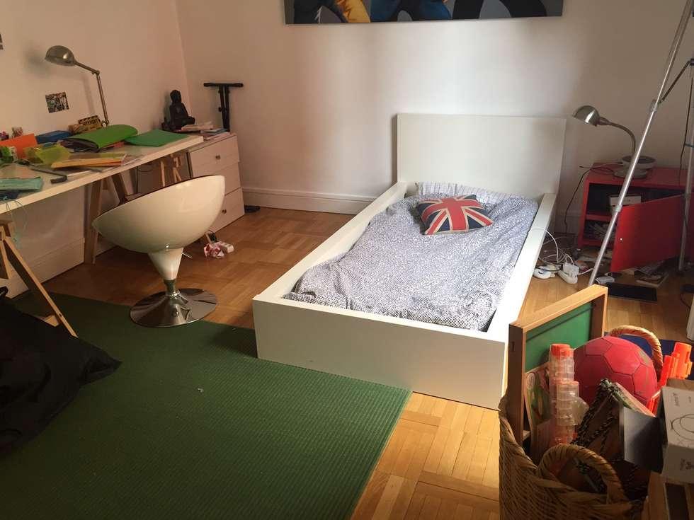 La chambre d'Adrien avant réaménagement : Chambre d'enfant de style de style Moderne par Myriem de Poncins