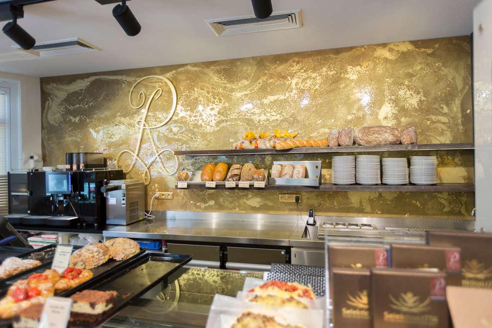 Wandgestaltung in gold verschiedene ideen for Raumgestaltung cafe