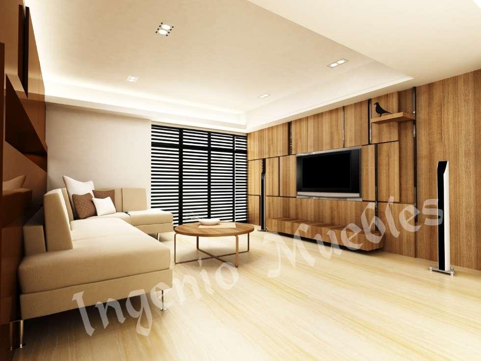 SALAS DE TV: Salas multimedia de estilo moderno por Ingenio muebles