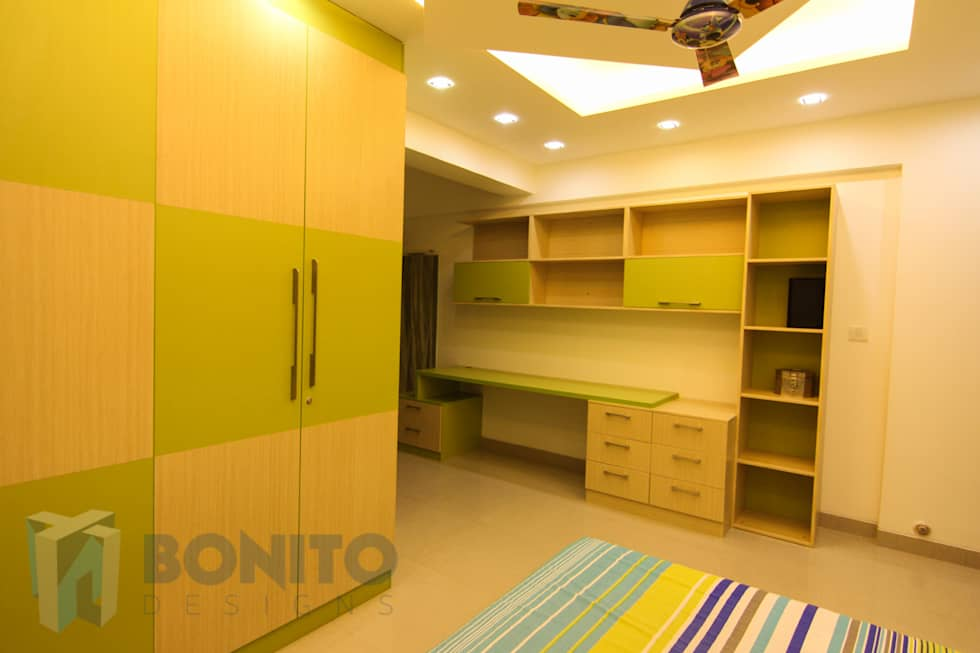Study table and bedroom wardrobe design  asian Study office by Bonito  Designs Bangalore. Asian study office photos  study table and bedroom wardrobe design