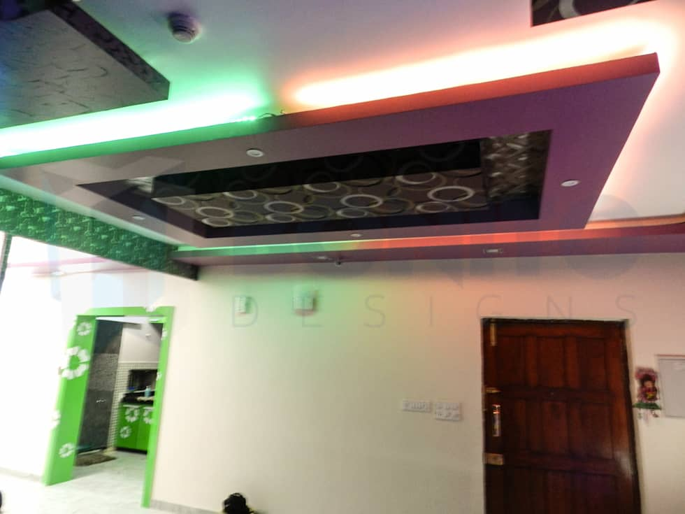 living passage way false ceiling design modern living room by bonito designs bangalore