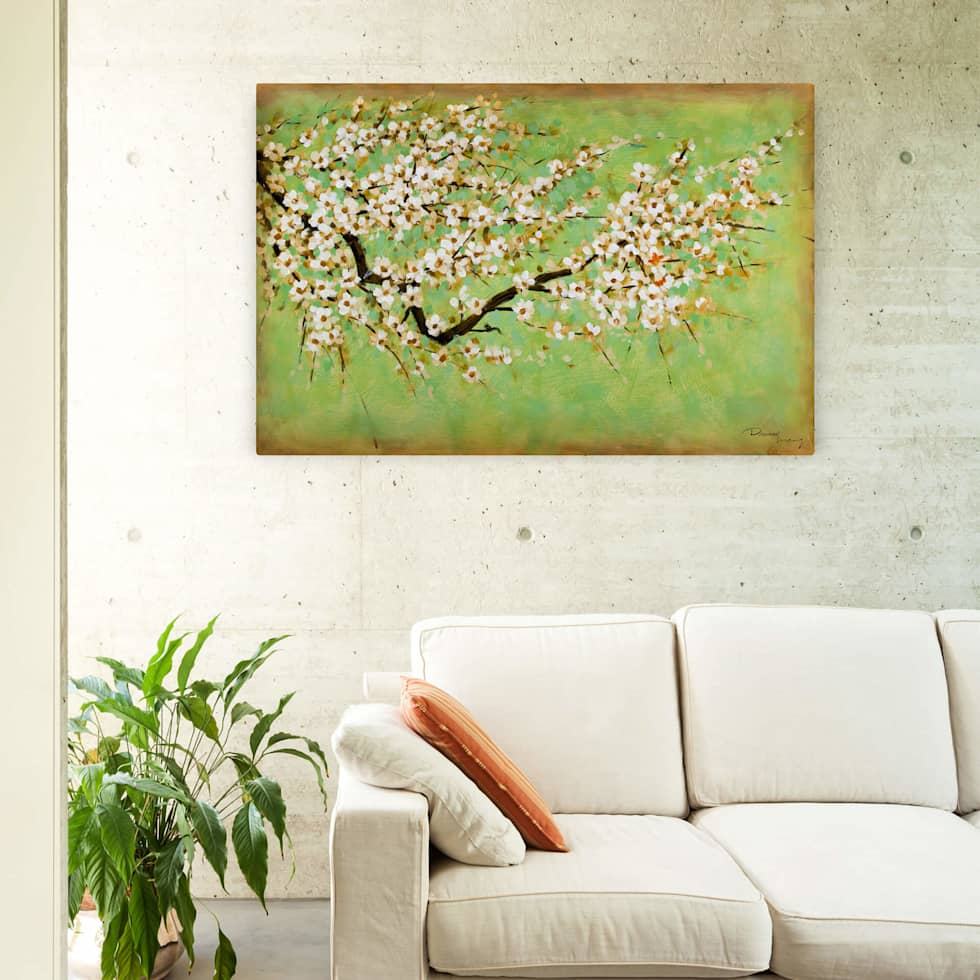 Acryl gemälde \'kirschblüten\' 120x80cm für wohnzimmer: moderne ...