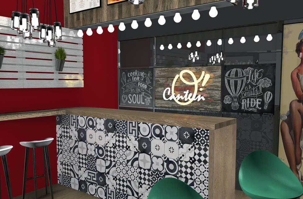 O' CANTEEN INTERIOR DESIGN PROJECT - LONDON | Progetto di Interior Design per locale O' Canteen, Londra: Bar & Club in stile  di Fabio Sillato Architect & Graphic Designer