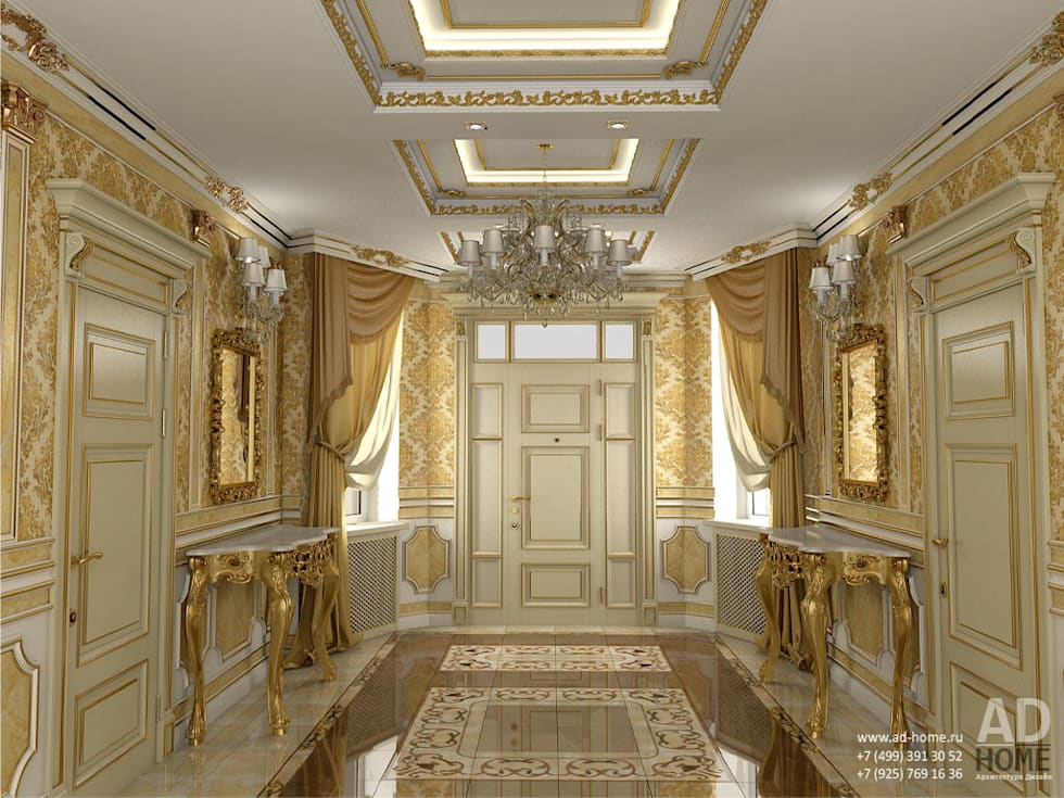Дизайн интерьера холла в  доме в классическом стиле , 370 кв. м в, Московская область : Коридор и прихожая в . Автор – Ad-home