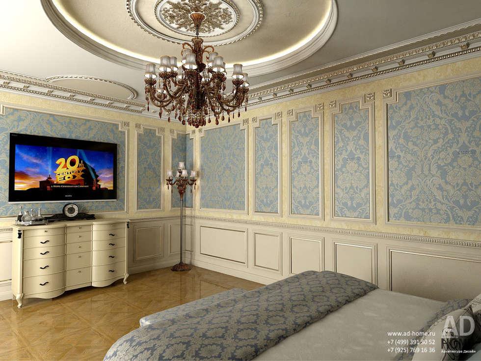Дизайн интерьера спальни в  доме в классическом стиле , 370 кв. м в, Московская область : Спальни в . Автор – Ad-home