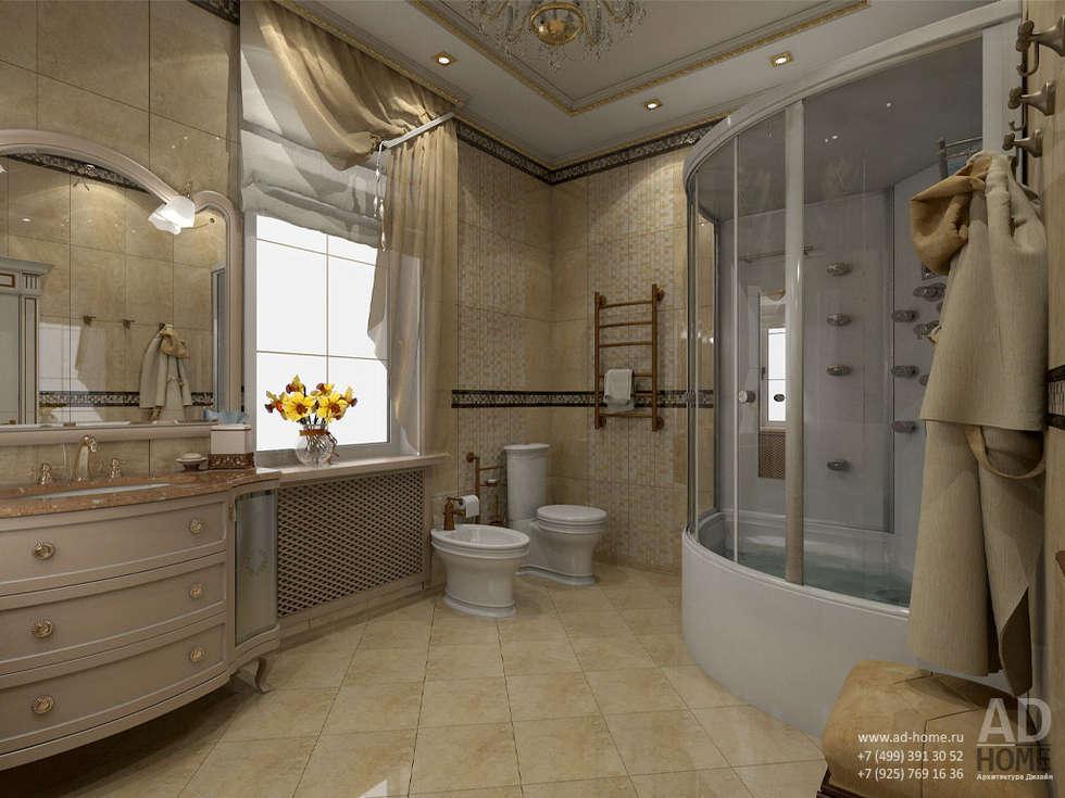 Дизайн интерьера ванной комнаты в  доме в классическом стиле , 370 кв. м в, Московская область : Ванные комнаты в . Автор – Ad-home