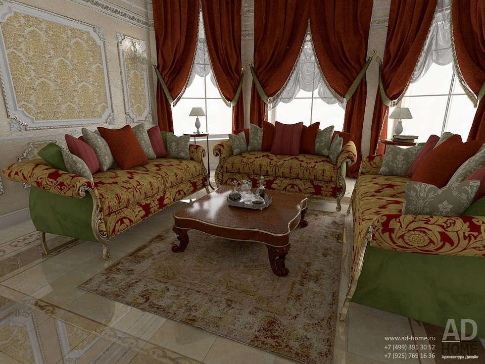 Дизайн интерьера гостиной в  доме в классическом стиле , 370 кв. м в, Московская область : Гостиная в . Автор – Ad-home