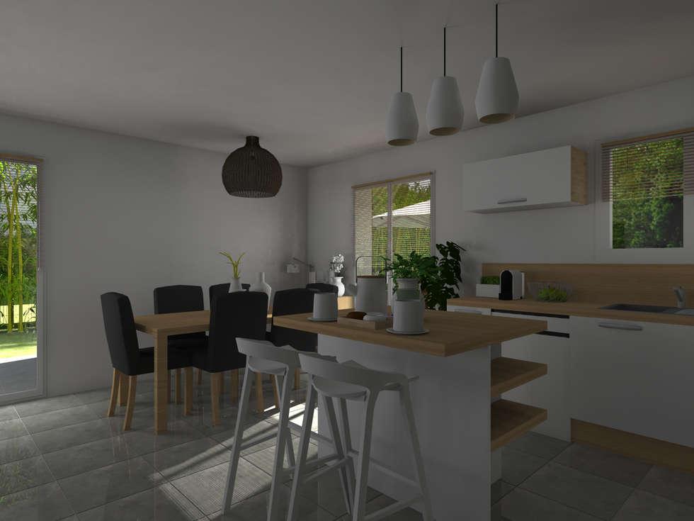 Maison neuve à Saint Jean d'Illac: Cuisine de style de style Moderne par Sandia Design
