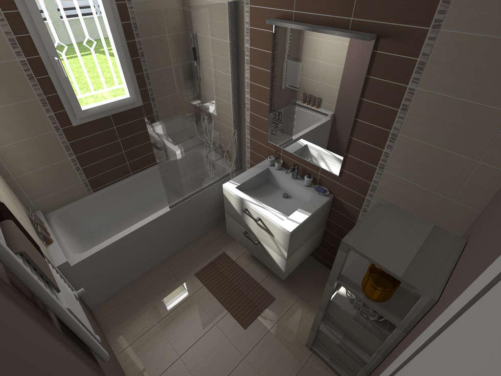 Maison neuve à Saint Jean d'Illac: Salle de bains de style  par Sandia Design