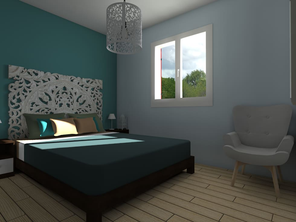 Maison neuve à Saint Jean d'Illac: Chambre de style de style Moderne par Sandia Design