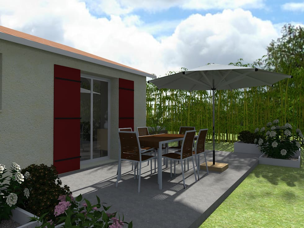 Le jardin à Saint Jean d'Illac: Maisons de style de style Moderne par Sandia Design