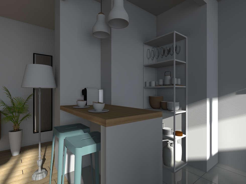 Espaces à vivre doux & lumineux: Cuisine de style de style Minimaliste par Sandia Design