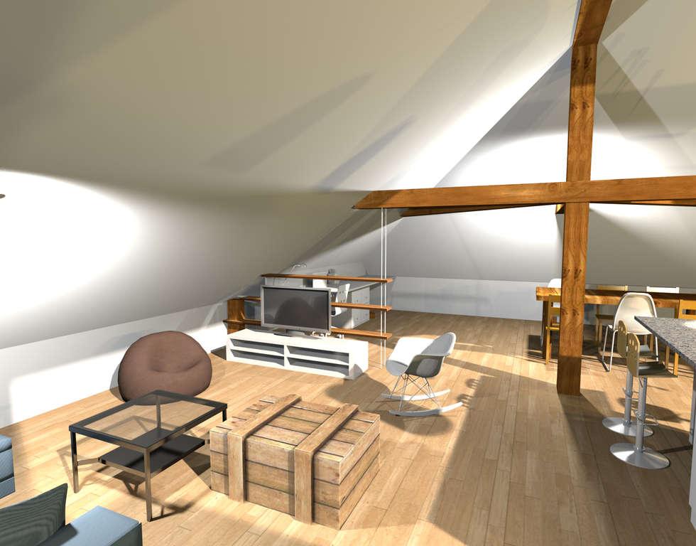 Projet 3D d'aménagement du salon: Salon de style de style Moderne par Résolument Déco
