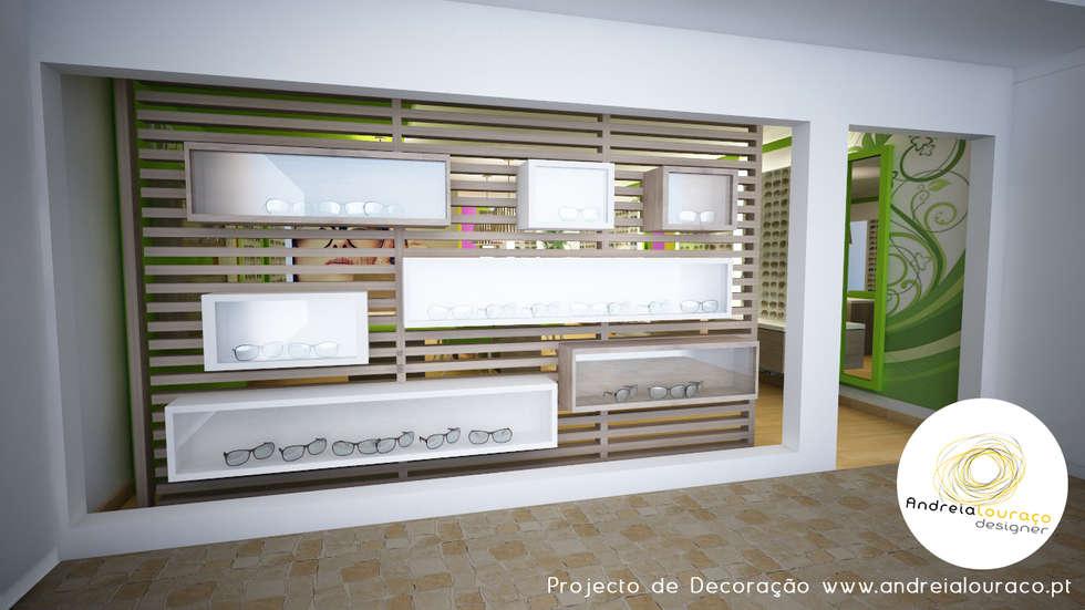 Projecto de Decoração de Loja-Óptica - by Andreia Louraço Design e Interiores: Lojas e espaços comerciais  por Andreia Louraço - Designer de Interiores (Contacto: atelier.andreialouraco@gmail.com)