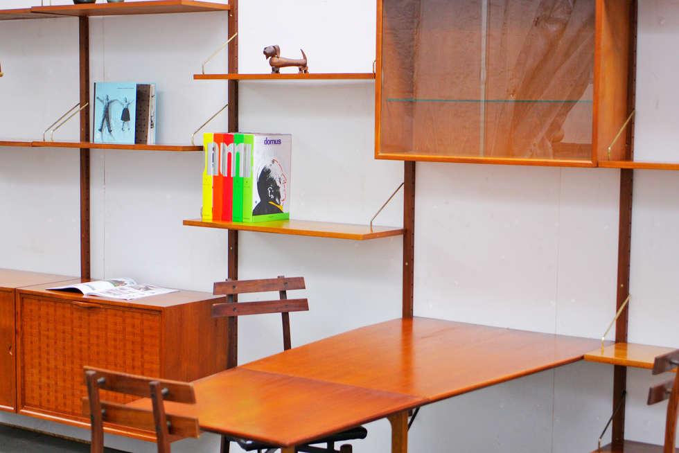 Regalsystem Mit Integrierten Tisch Von Poul Cadovius In Teak:  Skandinavische Wohnzimmer Von René Berlin