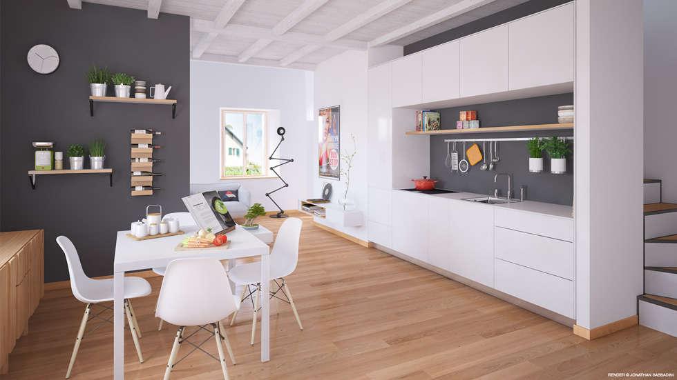 Ristrutturazione di un vecchio mulino a Jussy - zona pranzo e soggiorno: Cucina in stile in stile Scandinavo di Jonathan Sabbadini