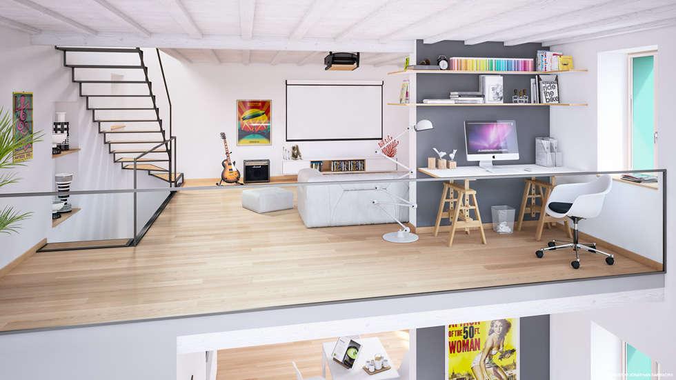 Ristrutturazione di un vecchio mulino a Jussy - ambiente duplex: Soggiorno in stile in stile Scandinavo di Jonathan Sabbadini