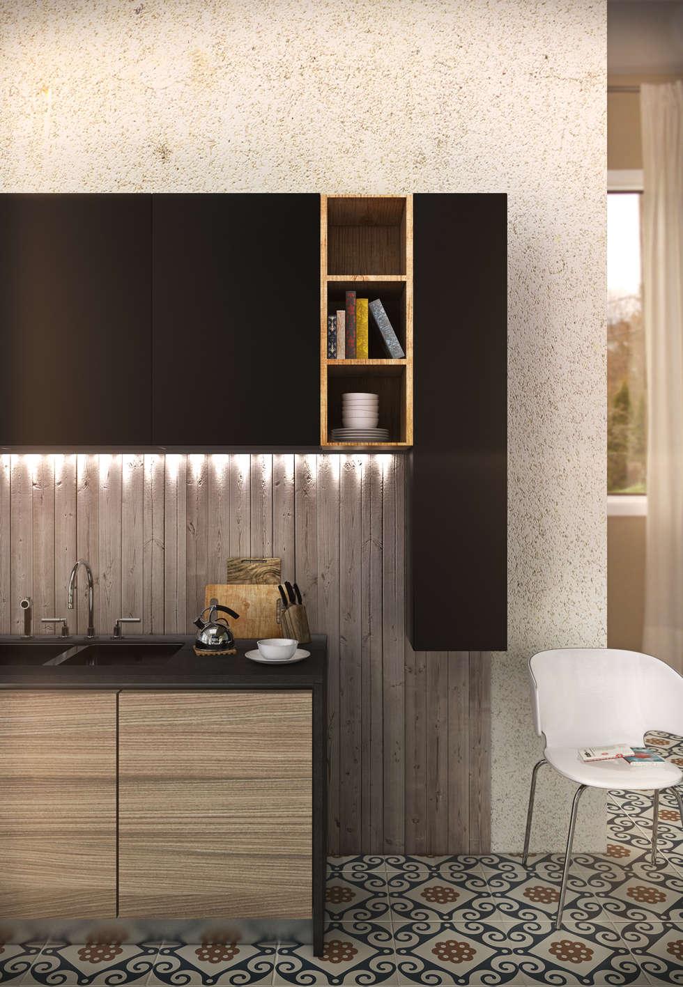 Kitchen: Cucina in stile in stile Minimalista di pixelgrafica