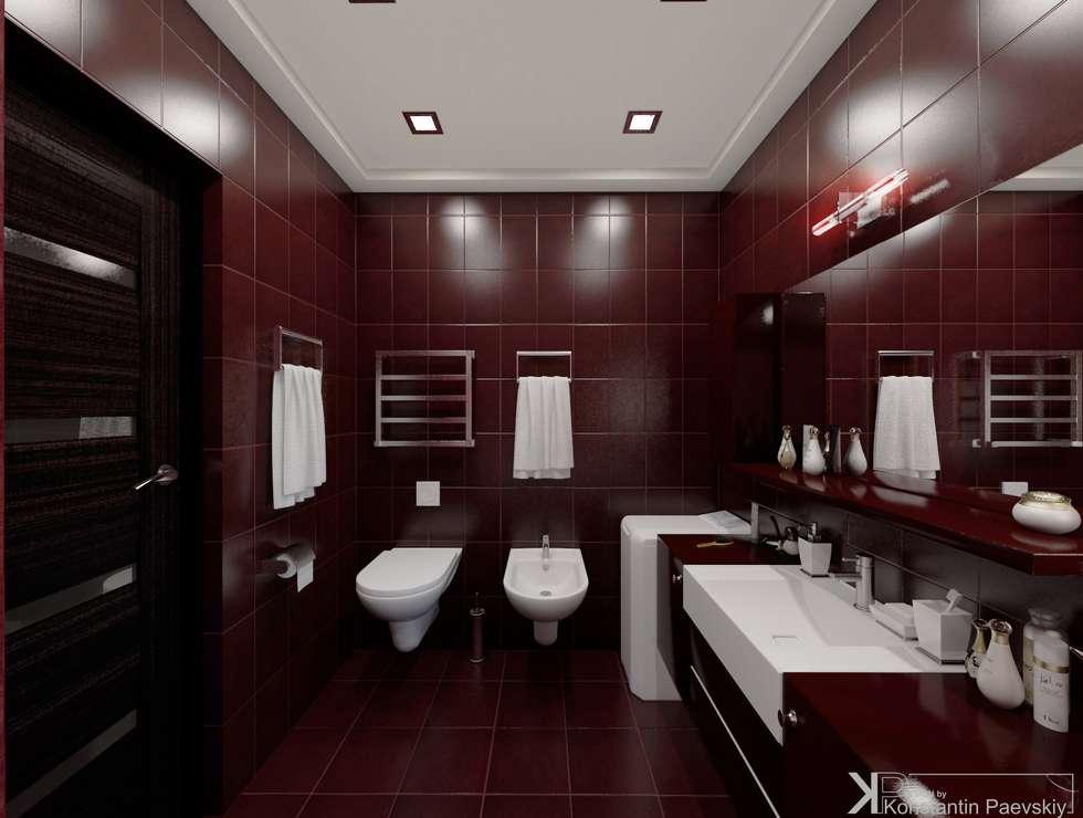 интерьер мебели в ванной в бордовом цвете того