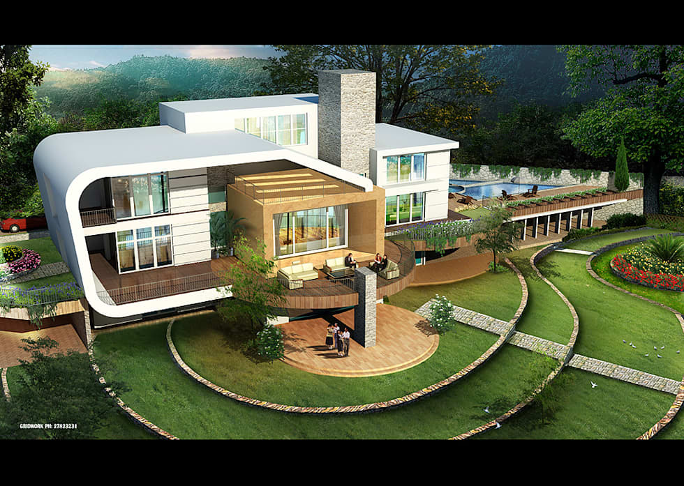 A luxurious modern concept bungalow amidst the nature for Modern bungalow design concept