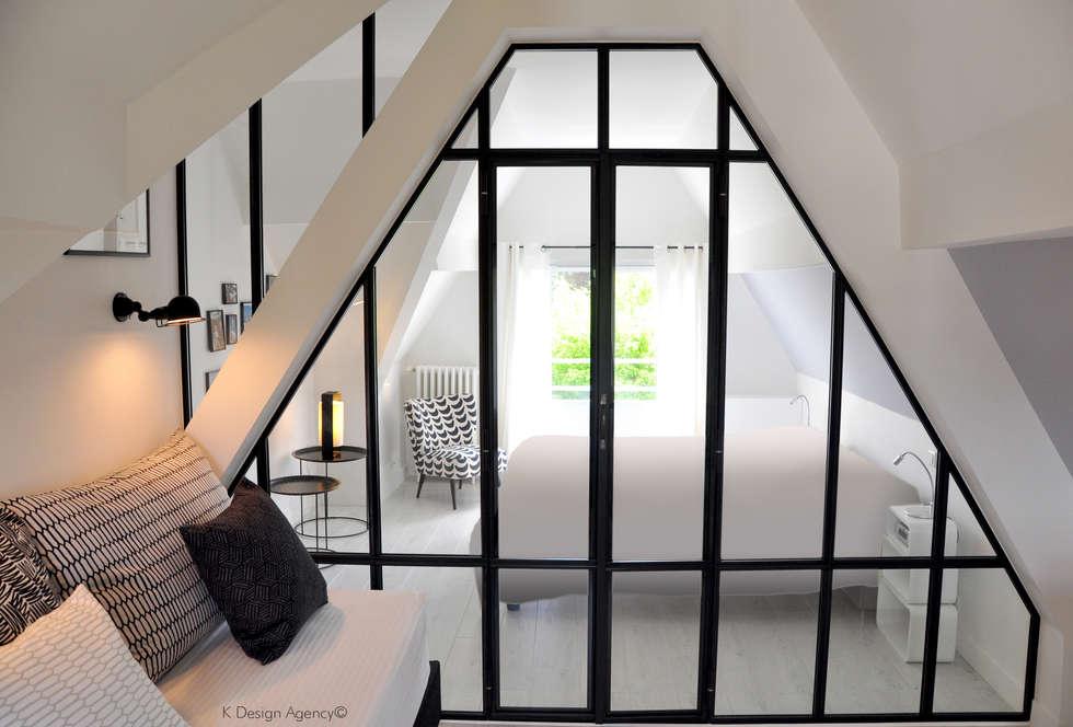 Une Verrière Intérieur Graphique: Chambre de style de style Industriel par K Design Agency