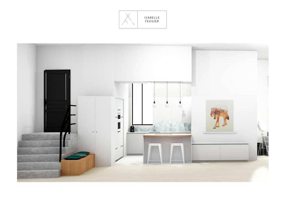 La cuisine avec son il^ot en délimitation de pièce.: Cuisine de style de style Scandinave par SLOWOOD / MOUVANCE DESIGN