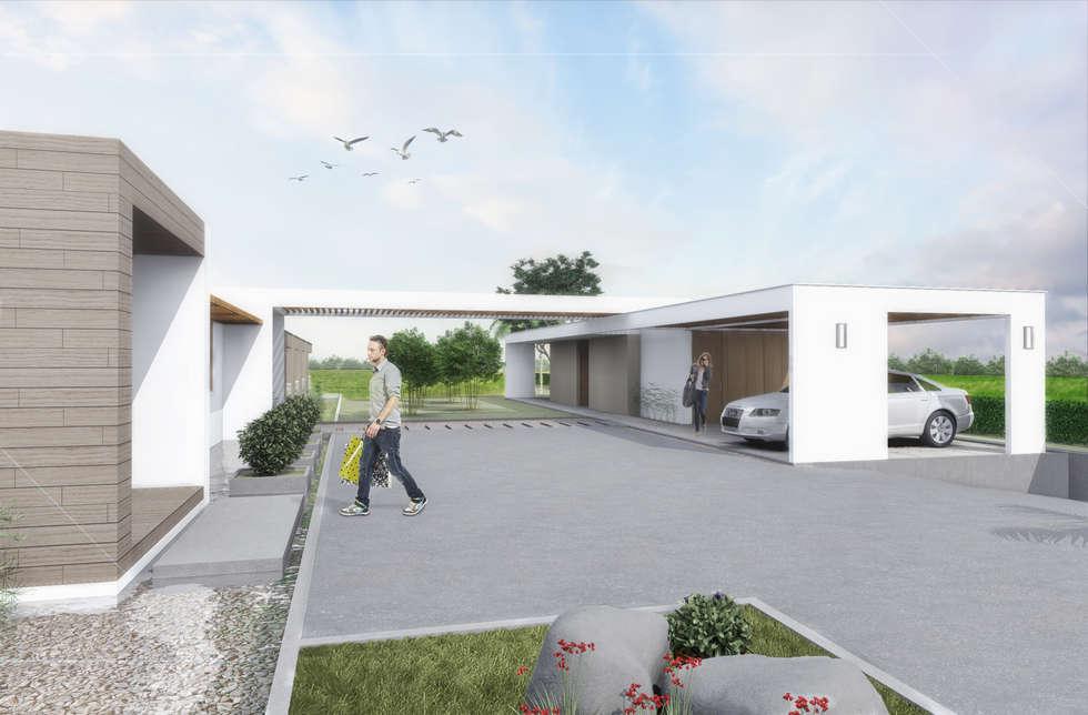 Acceso: Casas de estilo minimalista por Ar4 Arquitectos