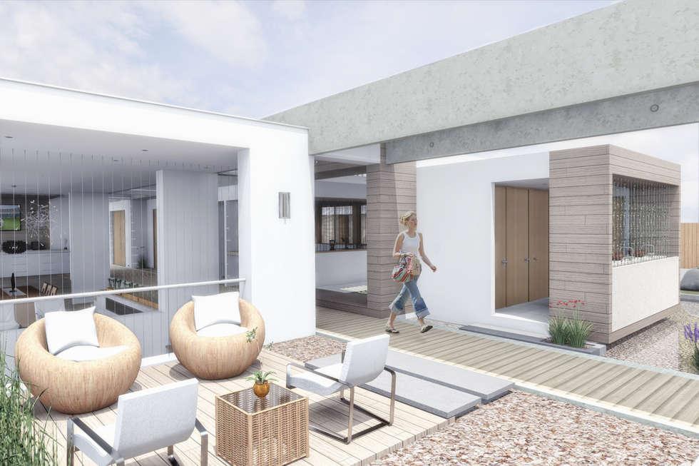 Sala de estar exterior: Casas de estilo minimalista por Ar4 Arquitectos