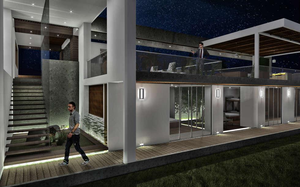 Habitación para visitantes: Habitaciones de estilo minimalista por Ar4 Arquitectos