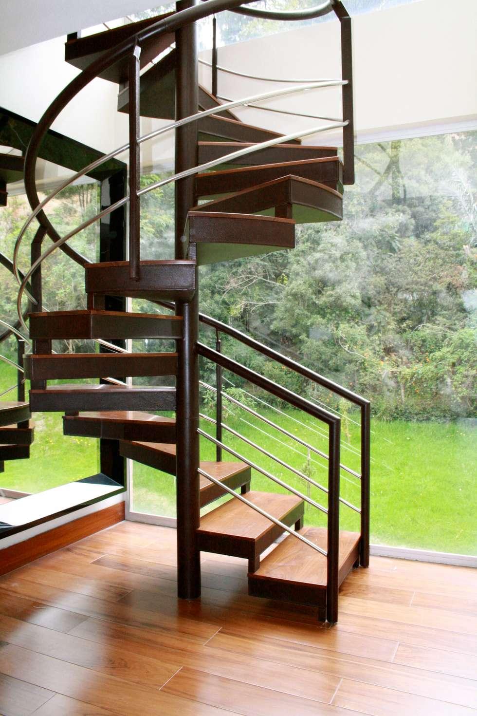 Escalera recubierta en cuero. : Pasillos y vestíbulos de estilo  por Justiniano Alfonso