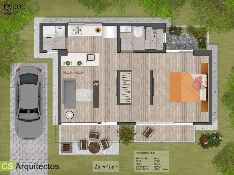Kairos Apartaestudios: Casas de estilo minimalista por CS Arquitectos