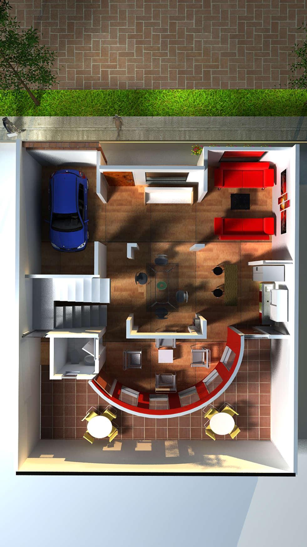 Urbanización San Miguel, Casa Medianera : Casas de estilo moderno por Santiago Zuluaga Arroyave