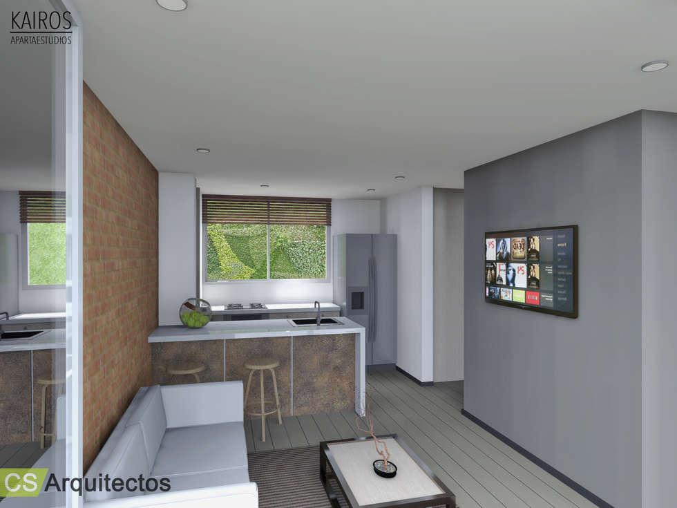 Kairos apartaestudios cocinas de estilo minimalista por for Decoracion apartaestudios
