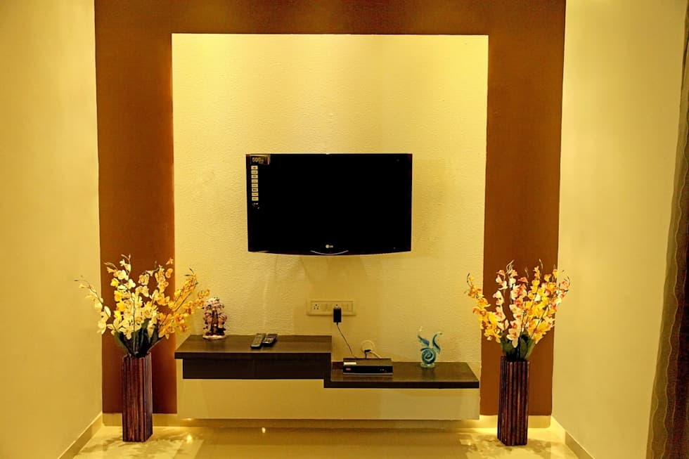 TV Unit Design: Modern Living Room By ZEAL Arch Designs