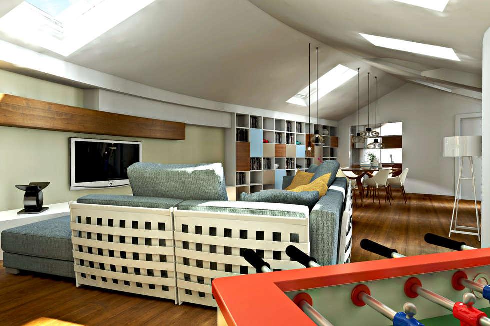 Foto di soggiorno in stile in stile moderno : progetto per la ristrutturazion...