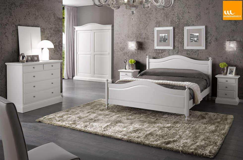 Camera da letto matrimoniale in stile arte povera bianca for Camera matrimoniale design