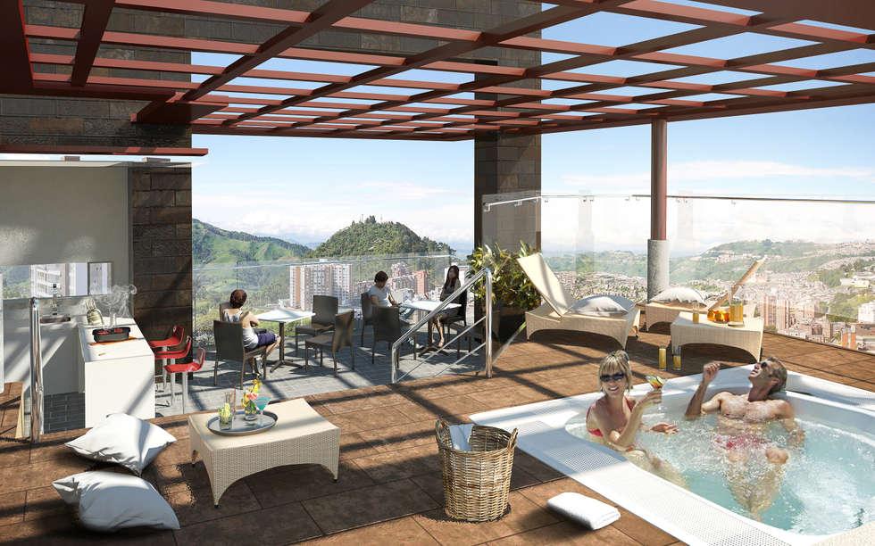 Zona Social_Jacuzzi: Piscinas de estilo moderno por MIES GROUP