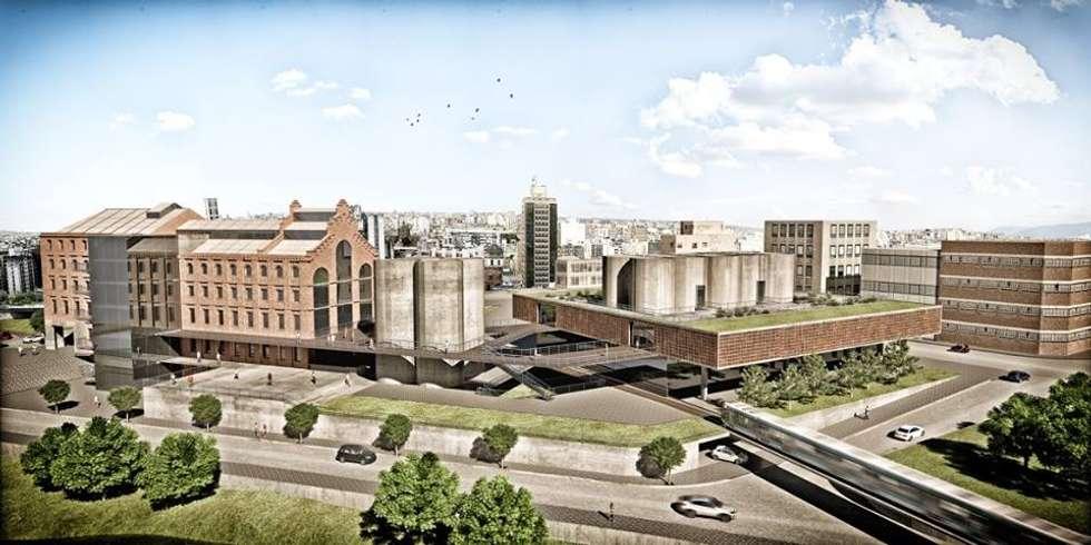 Vista en Vuelo de pájaro del complejo comercial y cultural: Salas de conferencias de estilo  por OPAT ARQUITECTURA
