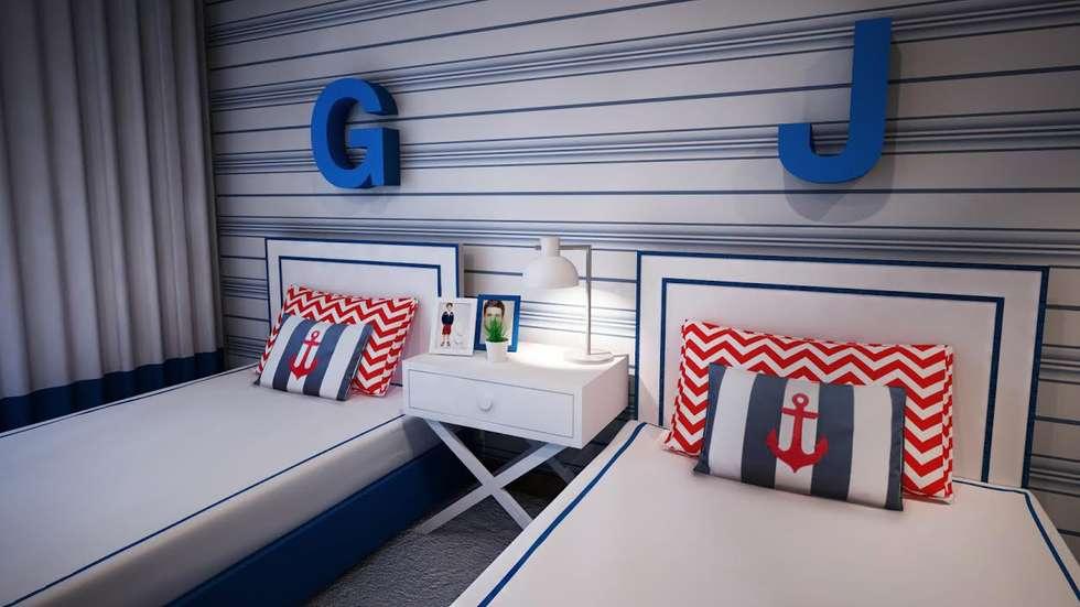 Navy Room: Quartos de criança escandinavos por Ângela Pinheiro Home Design